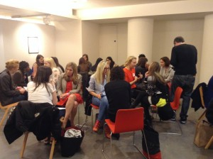 Some of the mentors and mentees begin chatting